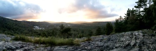 sunset sky panorama mountain mountains rock clouds nc highlands northcarolina panoramic vista iphone iphoneography