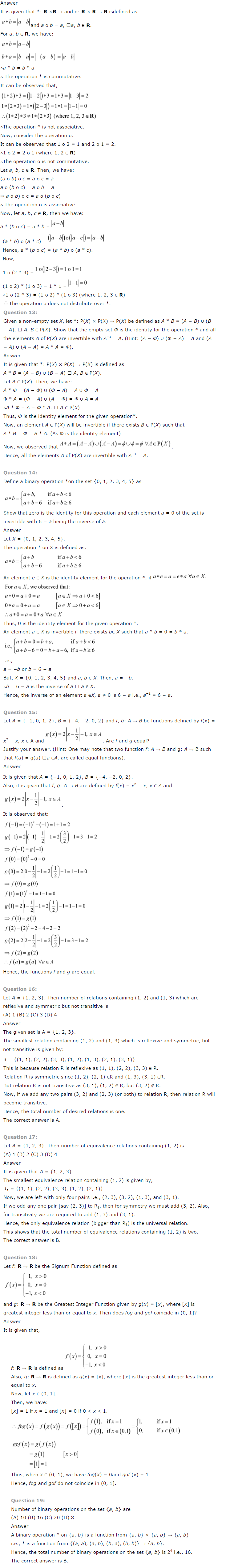NCERT Solutions for Class 12th Relations and Functions