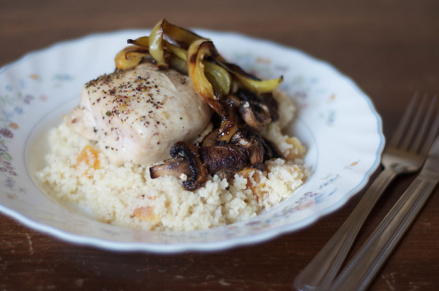 Dinner: Mediterranean chicken with roasted mushrooms & apricot couscous