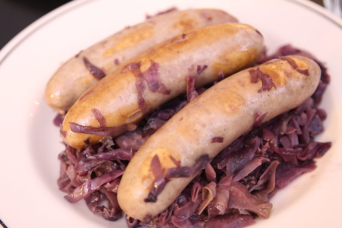 Beer Brats with Stewed Cabbage and Kielbasa