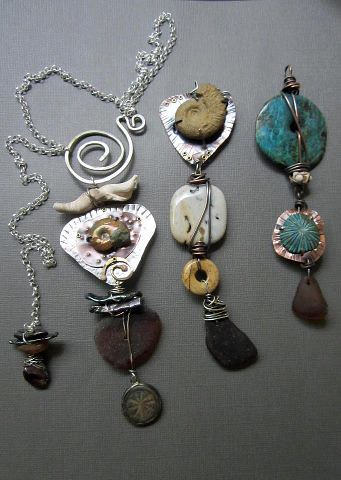 Tribal Sea Glass Pendants