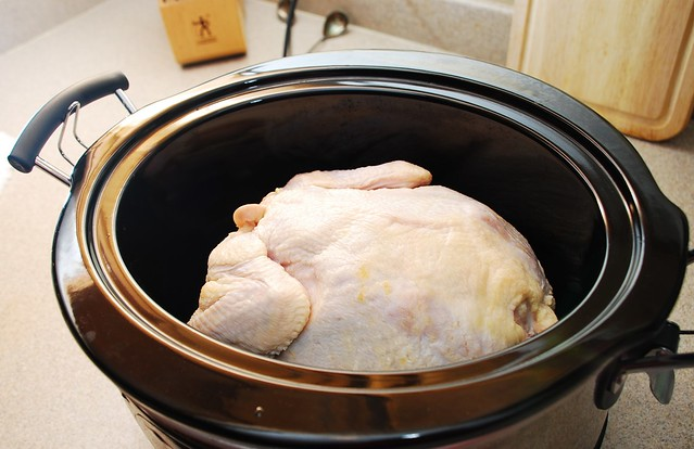 slow cooker raw whole chicken