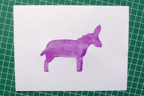 DONKEY BUTTON ART - Step 1 - Trace & Fill with Watercolour