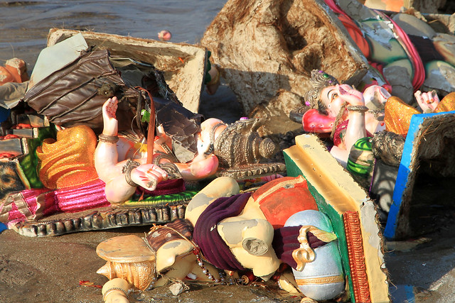Frightening collection of immersed Ganesh idols