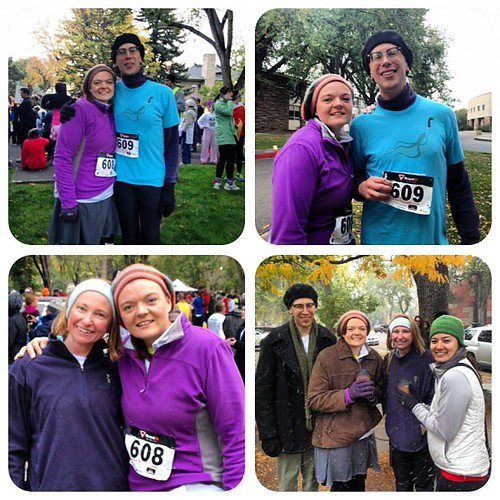 "My first 5K! Before & after with my hubby of ten years as of yesterday, then Ashley, then 4/5ths of our ""group"" waiting for a table at Lucile's when it started to snow after the race. Came in at 36:59, 11:56 pace, 1045/1400+, 71/97 in my age bracket. Resp"