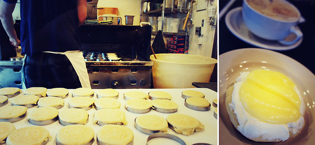 Fresh lemon curd and ricotta crumpets at The Crumpet Shop