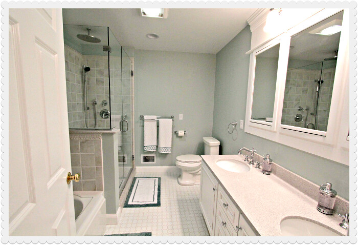 Long narrow bathroom designs pictures home decorating for Long master bathroom designs