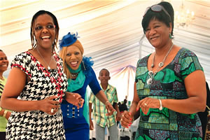 The patron of the Danhiko Annual Paralympic Games, Amai Grace Mugabe, is joined on the dance floor by Mrs Daisy Mtukudzi (right) and Ms Susan Jaison at Danhiko in Harare yesterday — Picture: Believe Nyakudjara by Pan-African News Wire File Photos