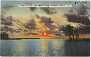 Tropical sunset over Sarasota Bay, Sarasota, Florida