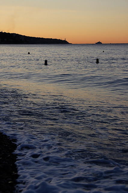 Sunrise from the beach in Nice, on the French Riviera