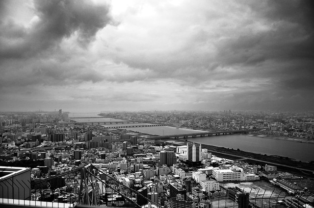 Osaka Skyline in black and white