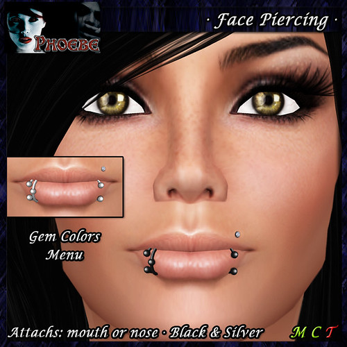 P Face Piercing ~ Serie M3 ~Black & Silver~ Gem Colors