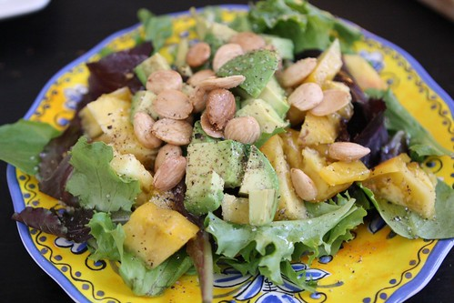 Yellow Heirloom Tomato Salad with Avocado and Marcona Almonds