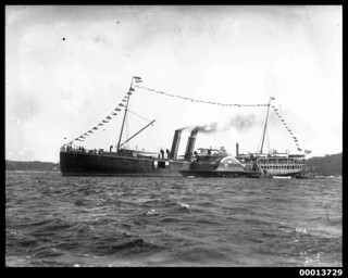 Paddle steamer NEWCASTLE probably at the Pittwater Regatta, 1922-1927