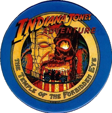 First Day Issue, Indiana Jones Adventure pin backed badge, button