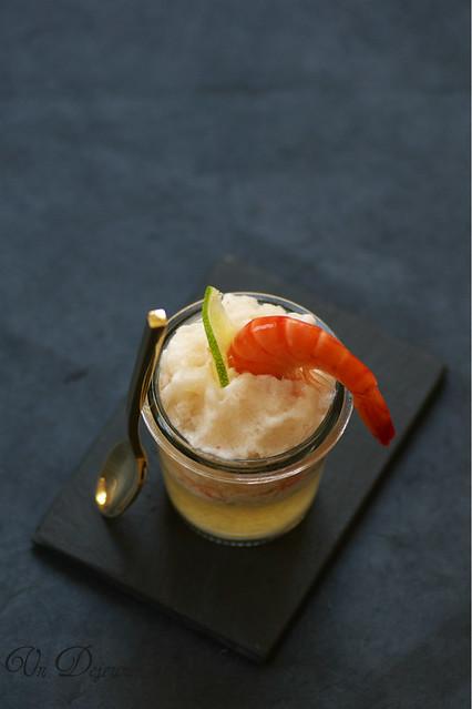 Verrine crevettes, coco et granité