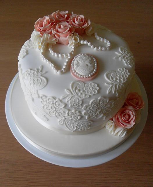 Vintage Photo Album Cake: Vintage Lace Birthday Cake