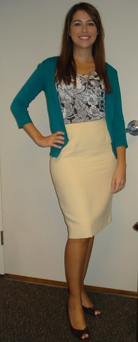 Yellow Pencil Skirt outfit pear shape