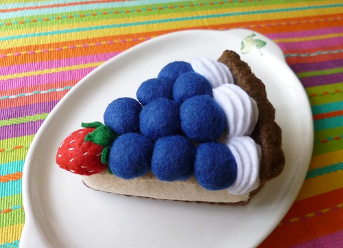 Felt play food - Blueberry & strawberry pie slice