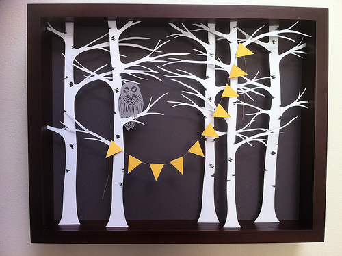 Owl in the Forest Paper Cutting