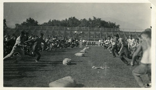 Classes at Pomona College competing in a sack race in 1927