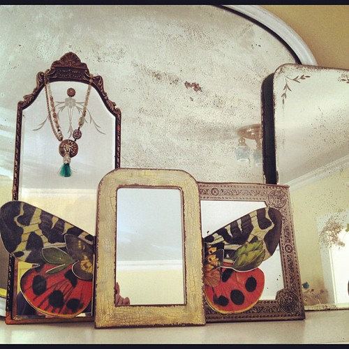 Added a new mirror to my mirror collection. New one has wings! It's new from my home decor collection with Creative Co-op. LOVE!