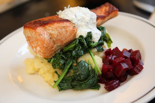 Pan Seared King Salmon with Mashed Potato, Garlic Spinach, Marinated Beets, and Mustard Cream Sauce