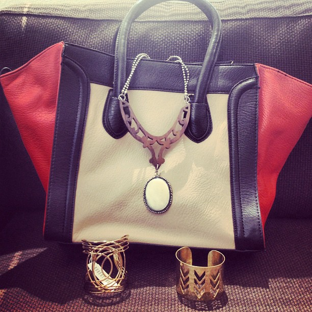 Loving the goodies I got in this month's @lbbag! #shopping #lbbag #handbag #cuff #necklace