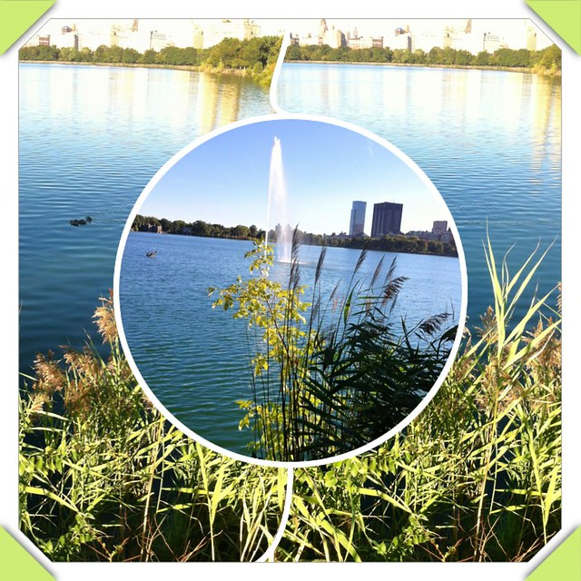 Mosaic View Of The Fountain In The Jacqueline Kennedy Onassis Reservoir New York N Y