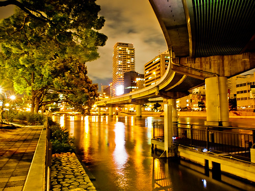bridge light reflection building tree japan architecture night river garden lumix landscapes osaka nightview expressway gf2