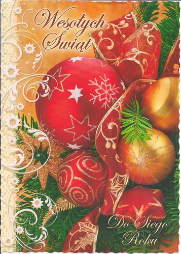 Red Christmas Ornaments-Christmas Postcard