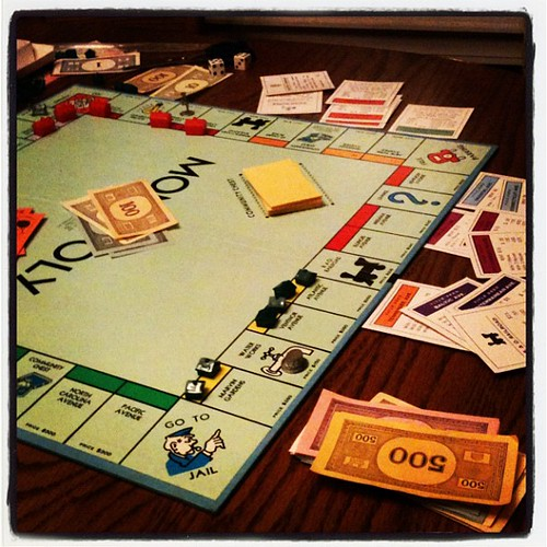 The girls most recent favorite game. It's been fun to play with them in the evenings. #monopoly