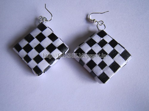 Handmade Jewelry - Paper Weave Earrings (Square) (1) by fah2305