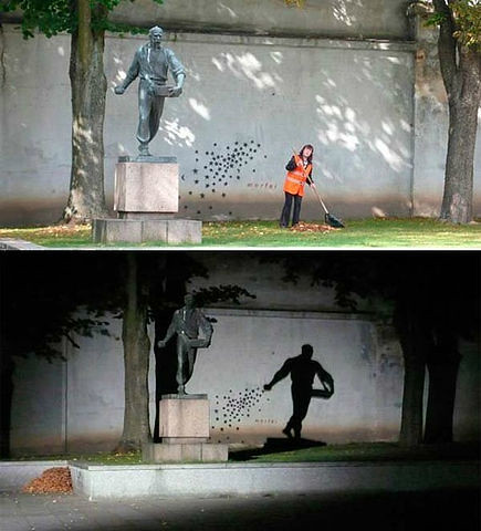 Day and night. The monument in Kaunas, Lithuania.