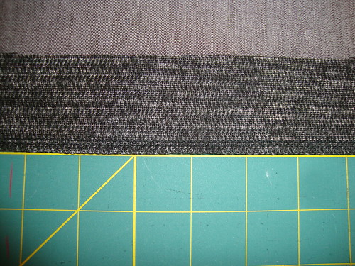 "New Look 6103:  for the hem:  a strip of 2"" interfacing with serged edge"