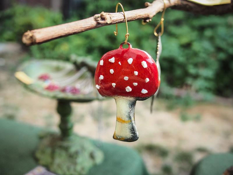 enameled mushroom ornament