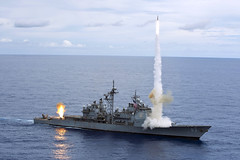 In this file photo, USS Cowpens (CG 63) fires a Standard Missiles (SM) 2 at an airborne drone during a live-fire weapons shoot in the Pacific Ocean. (U.S. Navy photo by Mass Communication Specialist 3rd Class Paul Kelly)