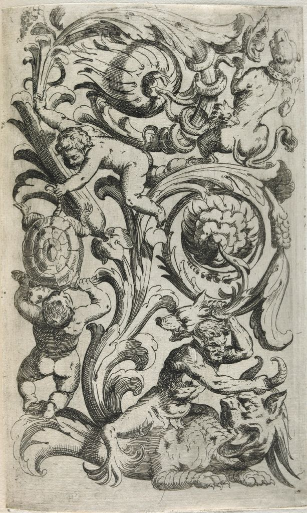grotesque foliated 17th century print