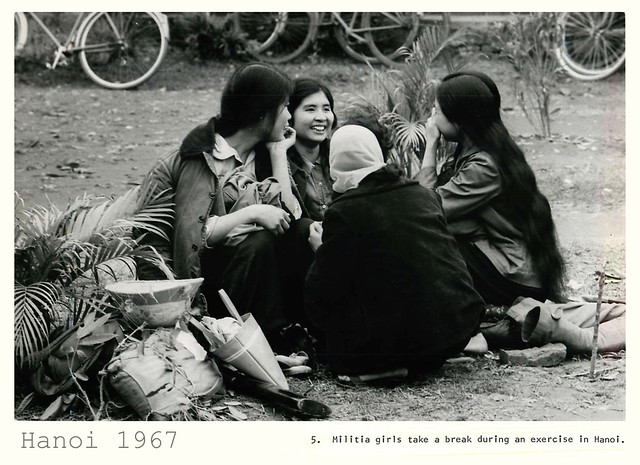 Hanoi 1967 - N. Vietnamese Militia Girls Take Break in Hanoi