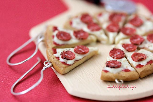 Miniature Food - Pizza Earrings