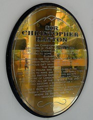 Photo of Christopher Hatton brass plaque