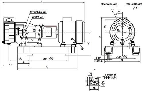 Габаритная характеристика насосов ВК 1/16К-2Г