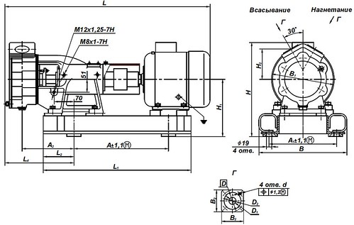 Габаритная характеристика насосов ВК 1/16Б-2Г