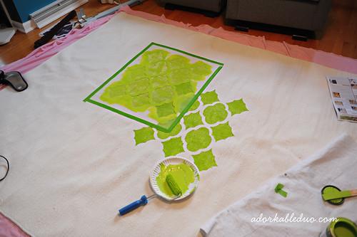 diy hand painted stencil rug for nursery decor
