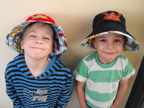 Liam & Noah frog hats