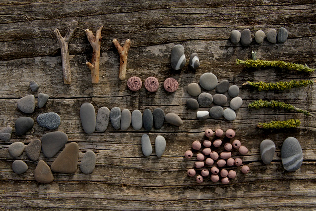 stones, twigs and clay beads