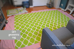 diy hand painted stencil rug for nursery decor