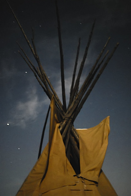 Shaw Nature Reserve (Arboretum), in Gray Summit, Missouri, USA - Close up of teepee illumined by the full moon