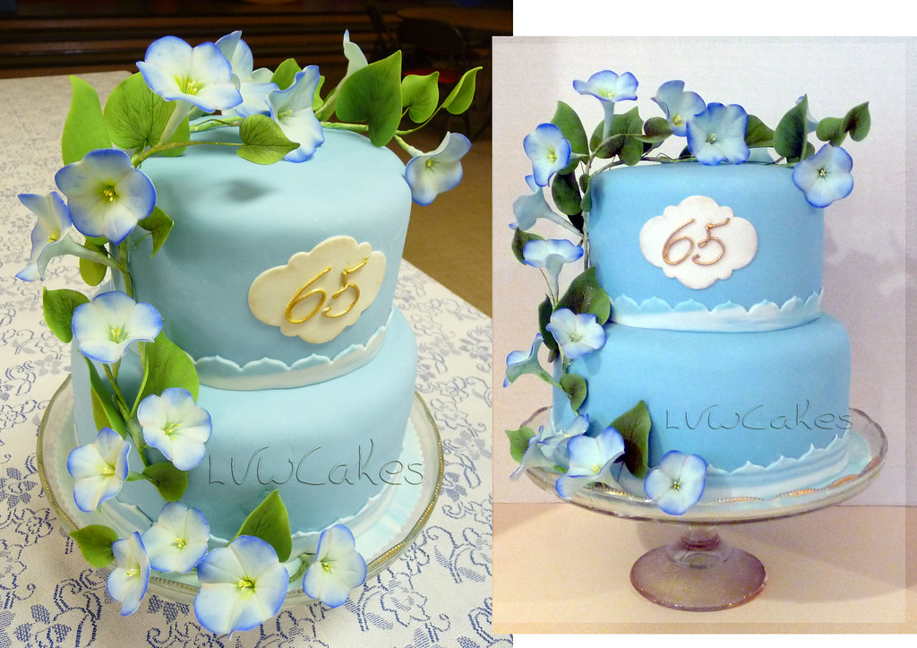 65th Wedding Anniversary Cake With Climbing Morning Glory Flowers