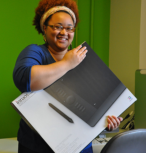 Jonquel with her new Wacom Intuos 5 Touch